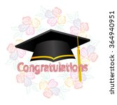 graduation ceremony hat on rose ... | Shutterstock .eps vector #364940951