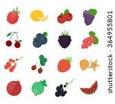 berries icons. flat vector... | Shutterstock .eps vector #364955801