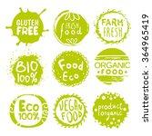 green eco food labels. vector... | Shutterstock .eps vector #364965419