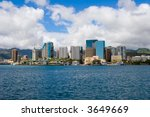 Downtown Honolulu Skyline With...