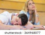 male student falling asleep... | Shutterstock . vector #364968077