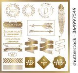 set of gold graphic design... | Shutterstock .eps vector #364997549
