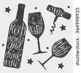 wine bottle  glass and... | Shutterstock .eps vector #364998935