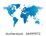 world map blue isolated on white | Shutterstock . vector #36499972
