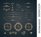 vintage set of decorative... | Shutterstock . vector #365041124
