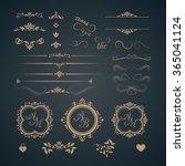 vintage set of decorative... | Shutterstock . vector #365041124