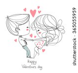cute girl and boy. valentine's... | Shutterstock .eps vector #365055959