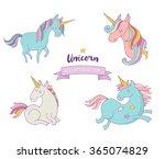 set of magic unicorns   cute...   Shutterstock .eps vector #365074829