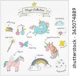 magic hand drawn set   unicorn  ... | Shutterstock .eps vector #365074889