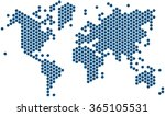 blue hexagon shape world map on ...   Shutterstock .eps vector #365105531
