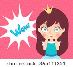 cute cartoon princess and wow... | Shutterstock .eps vector #365111351
