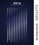 2016 moon phases calendar vector | Shutterstock .eps vector #365111771