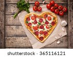 pizza heart shaped with... | Shutterstock . vector #365116121