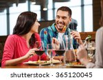 happy couple with friends... | Shutterstock . vector #365120045