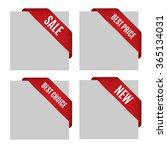 red realistic corner ribbon set ... | Shutterstock .eps vector #365134031
