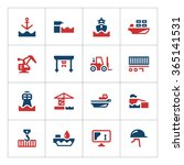 set color icons of seaport... | Shutterstock . vector #365141531