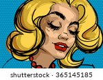pop art blonde woman with a red ...