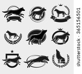wolf label and icons set. vector | Shutterstock .eps vector #365156501