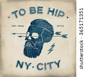 poster of vintage skull hipster ... | Shutterstock .eps vector #365171351