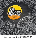 vector hand drawn pizza sketch... | Shutterstock .eps vector #365200559