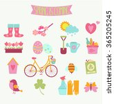 set of 16 flat colorful spring... | Shutterstock .eps vector #365205245