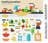 Healthy Breakfast Vector Flat...