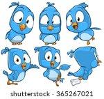 very adorable blue cartoon bird ... | Shutterstock .eps vector #365267021