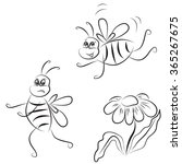 Simple Outline Drawing Bee And...