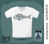 piranha vector lettering with... | Shutterstock .eps vector #365284919