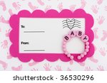 A White Postcard With A Pink...