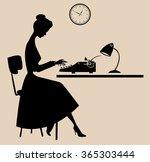 retro typing secretary... | Shutterstock .eps vector #365303444