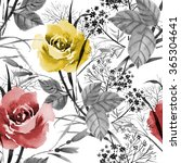 seamless floral pattern with of ... | Shutterstock . vector #365304641