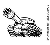 Cartoon Army Tank Machine With...