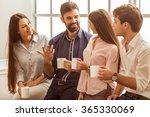 coffee break chat. group of... | Shutterstock . vector #365330069
