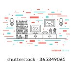 linear flat interior design... | Shutterstock .eps vector #365349065