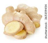 fresh ginger on white bakground  | Shutterstock . vector #365359454