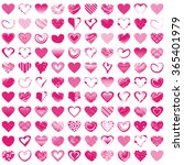 100 hand drawn romantic hearts. ... | Shutterstock .eps vector #365401979