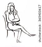 instant sketch  woman sitting... | Shutterstock . vector #365403617