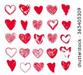 hand drawn collection of hearts. | Shutterstock .eps vector #365405309