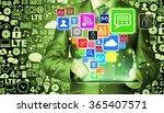 business man using tablet pc... | Shutterstock . vector #365407571