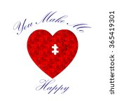 heart puzzle with ink... | Shutterstock .eps vector #365419301
