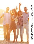 young people with beer on the... | Shutterstock . vector #365420975