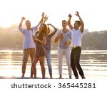 young people with beer on the... | Shutterstock . vector #365445281