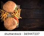beef burgers and french fries... | Shutterstock . vector #365447237
