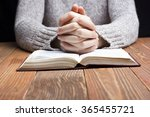 woman hands praying with a... | Shutterstock . vector #365455721