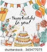 watercolor vector happy... | Shutterstock .eps vector #365477075