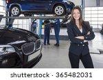 happy customer in garage with... | Shutterstock . vector #365482031