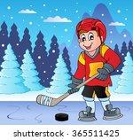 ice hockey player on frozen... | Shutterstock .eps vector #365511425