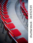 an image of rows of red  chairs   Shutterstock . vector #36552535