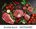 different types of steaks set.... | Shutterstock . vector #365536385